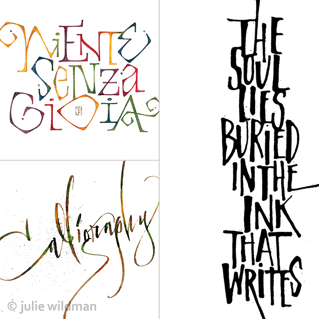 Brush lettering samples by Julia Wildman